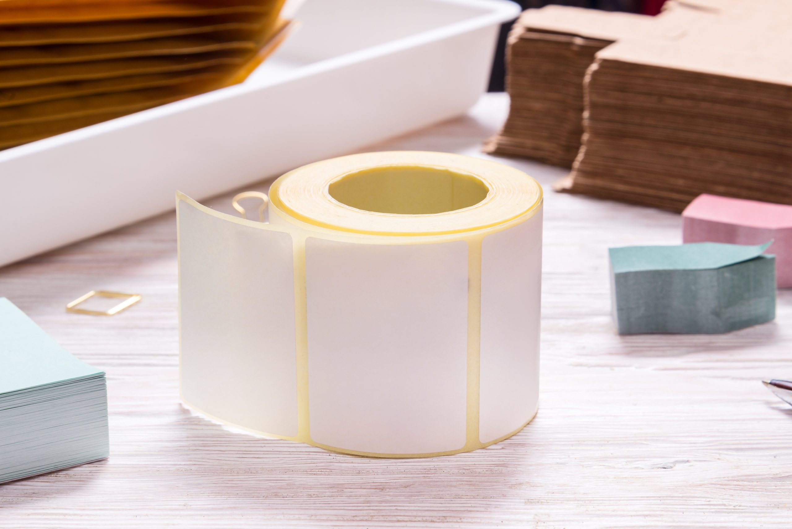 White  tape roll  on wooden office table